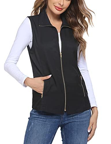 Dealwell Women's Lightweight Stretchy Cotton Vest Zipper Sleeveless Military Jacket (Black L)