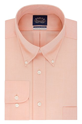 Eagle Men's Dress Shirt Regular Fit Non Iron Stretch Collar Solid, Orange, 15.5' Neck 34'-35' Sleeve (Medium)