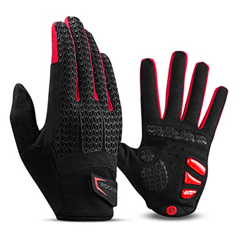 ROCK BROS Road Bike Gloves Cycling Gloves for Men Women Bicycle Gloves Full Finger Workout Commuter Gloves with Gel Padded Shock Absorbing, Touch Screen Anti Slip for Climbing Biking Ridding Red