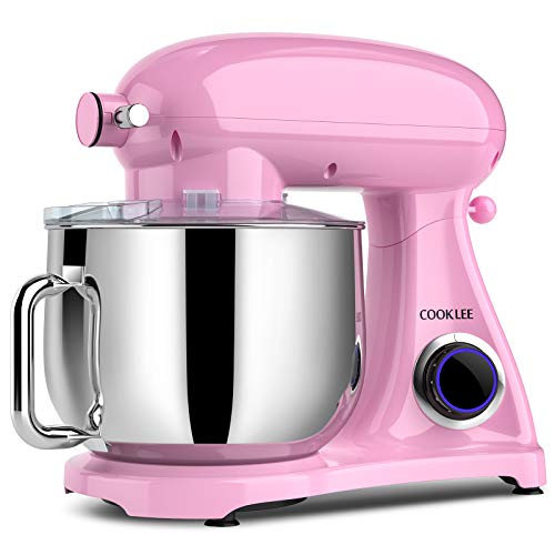 COOKLEE Stand Mixer, 800W 8.5-Qt. Kitchen Mixer 10+1 Speeds with Dishwasher-Safe Dough Hooks, Flat Beaters, Whisk & Pouring Shield, SM-1522NM, Pink