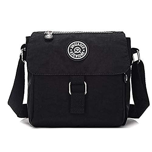 Oinna Bolso bandolera de nailon, mochila de viaje para exteriores, bolso de mano, bolso de mano, bolso de viaje, ligero, 19 x 10 x 21 cm, color Negro, talla 19*10*21cm