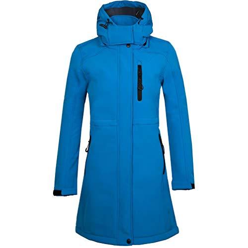 CIKRILAN Femmes Longue Chaud Épais Polaire Doublé Veste Dames Outdoor Capuche Coupe-Vent Ski Pardessus (2XL, Bleu)