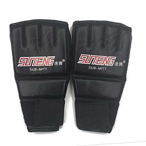 DJLHN1 Paar PU Leder Halbhandschuhe Fäustling MMA Muay Thai Training Stanzen Sparring Boxhandschuhe Golden/Weiß/Rot - Schwarz und Rot