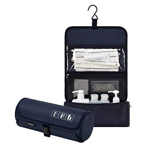 Gonex Hanging Toiletry Bag, Water Resistant Travel Toiletry Organizer Cylinder Makeup Bag for Men & Women with Built-in Hook Deep Blue