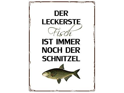 Interluxe WANDSCHILD Metallschild DER LECKERSTE Fisch Spruch Dekoration Küche Lustig