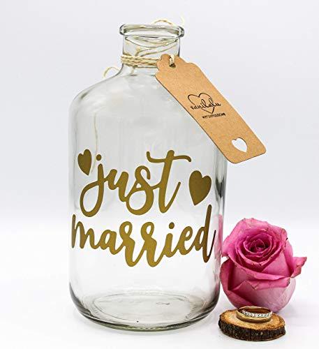 Vanilalu Sparflasche Just Married Gold | Spardose | Geldgeschenk | Hochzeit | Sparbüchse | Hochzeitsgeschenk | Brautpaar