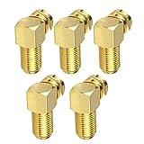 Conector de ángulo adaptador de cable F para los accesorios de cable de antena coaxial chapado en oro Conversión de oro 5PCS eléctricas