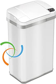 iTouchless Automatic Touchless Sensor Trash Can ? includes Odor Filter and Fragrance ? 4 Gallon / 15 Liter - White