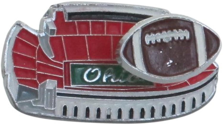 NCAA Ohio State Buckeyes Ohio Stadium Magnet with Football on Spring, 3  x 3 ,Scarlet