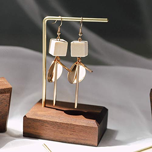 "GemeShou Walnut Brass Earring Display Stands Retail Luxury Jewelry Shelf Earring Cardboard Hanger Ring Wood Holder Minimal Photo Props for Craft Show【Walnut Brass L Shelf Height 4.7""】"
