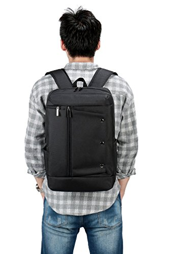 Weekend Shopper Black Laptop Backpack College School Bookbag Travel Computer Backpack for Men and Women Fit up to 15.6 inch Laptop