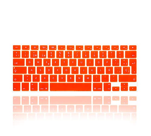 MMDW Spanish Language Silicone Keyboard Cover Skin for MacBook Pro 13' 15' 17' (2015 or Older Version),for MacBook Air 13' A1369/A1466,Europe and Spanish Layout Protective Skin,Orange