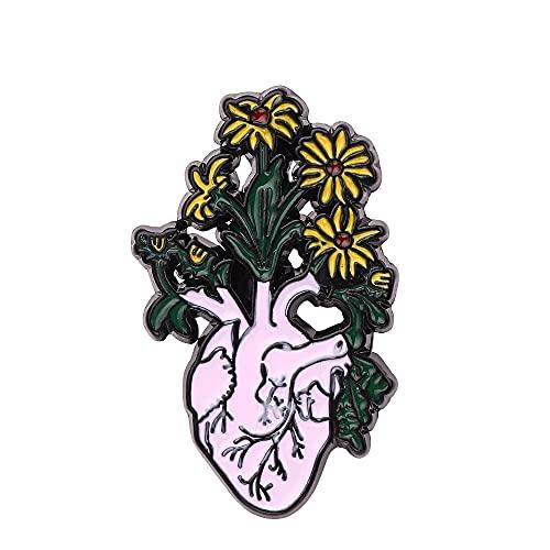 BEAGHTY Broche de órgano Humano Reloj de Arena corazón útero Biblioteca Grifo Flor crisantemo Planta Bosque Broche Insignia de Metal