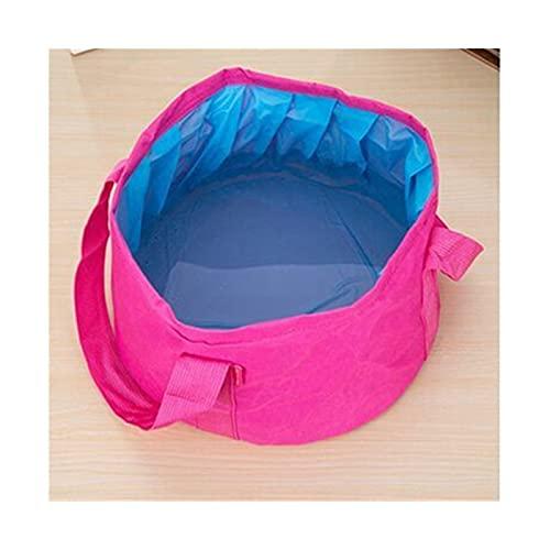 LOEMWJ Cubo plegable 2 piezas portátil para viajes al aire libre, plegable, plegable, para camping, lavabo, cubo, fregadero, bolsa de lavado, cubo de agua plegable de 15 l (color de rosa)