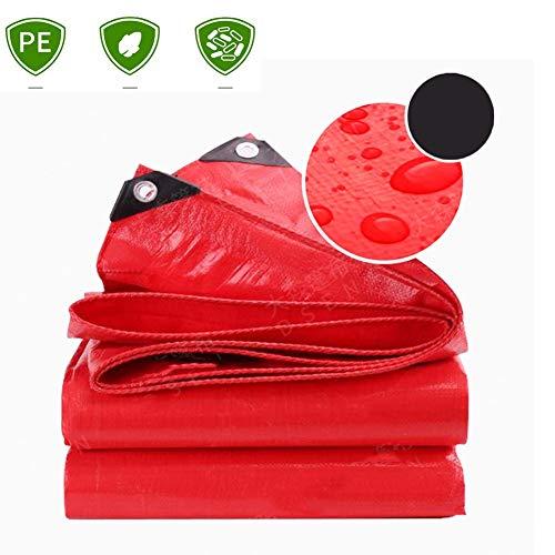 Zhu Heavy Duty Tarp, Wasserdicht Poly Große Abdeckung for Outdoor-Trailer, Brennholz, Plane Überdachung-Zelt, Boot, Wohnmobil oder Pool-Abdeckung (Color : Red, Size : 4x10m)