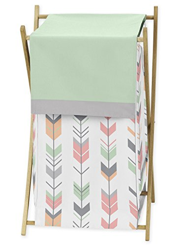 Sweet Jojo Designs Baby/Kids Clothes Laundry Hamper for Grey, Coral and Mint Woodland Arrow Girl Bedding Sets