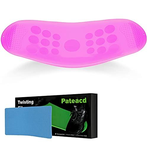 Pateacd Twist Sport Fitness Balance Board Erwachsene Kinder, Yoga Workout Training Physiotherapie Boards Fitnessgeräte für Zuhause für Bauchmuskeln und Beine Ganzkörpertraining,Rosa