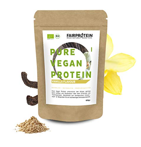 Protein Powder Vegan Vanilla Organic Without Soy [from Germany] - 650g Vegan Protein 3K Without sweeteners for Natural Protein-Shakes - Organic Protein Powder Without Sugar