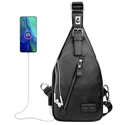 Alena Culian Sling Bag Men Leather Chest Bag Travel Sport Crossbody Shoulder Bag Daypack Backpacks (classic black)