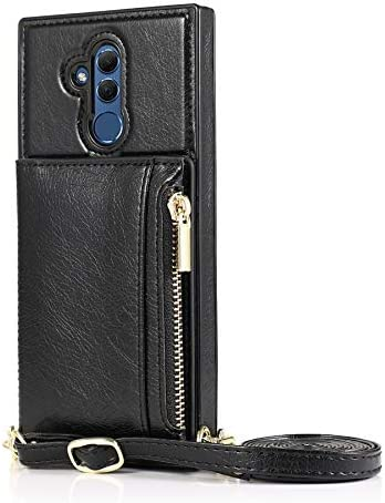 Sccdjyxl Cover Case for Huawei Mate 20 lite, Zipper Wallet Case with Credit Card Holder/Crossbody Long Lanyard, Shockproof Leather TPU Case Cover for Huawei Mate 20 lite (Color : Black)