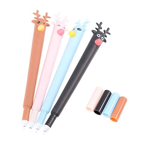 Yardwe 8 bolígrafos de tinta en forma de Elk de tinta negra de 0,5 mm, tinta negra, bolígrafo suave, con forma de ciervo de Navidad, regalo de papelería para estudiante (negro, marrón, azul y rosa)