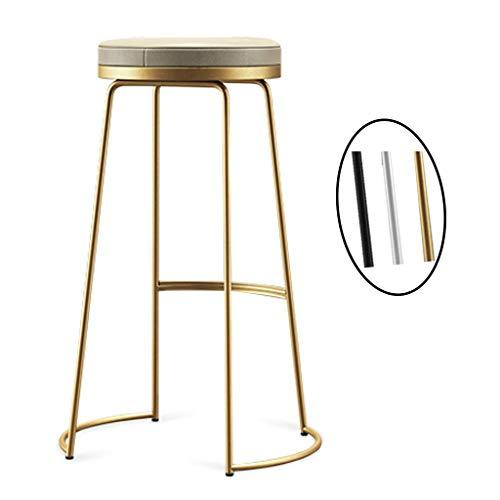 CHAIR Stuhl Bar, Cafe, Restaurant Stuhl, Barhocker Stuhl Trend Küche und Frühstück Barhocker rund Pu Sitz für Pub Café Sitzhöhe,Gold,45cm