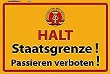 Halt Staatsgrenze ! der DDR Blechschild Schild Blech Metall Metal Tin Sign 20 x 30 cm F0299