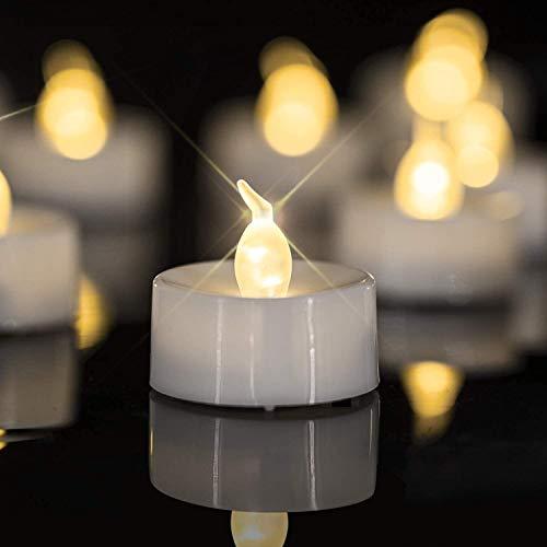 Beneve Velas LED Tealight, 24 velas LED sin llama, Velas candelitas realistas y brillantes, Funciona con pilas, Vela candelita de larga duración para bodas, vacaciones, fiestas
