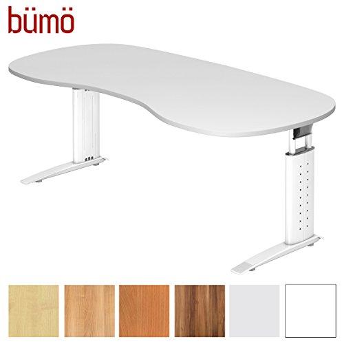 bümö® Schreibtisch höhenverstellbar 68-86 cm | Bürotisch mit Gestell in weiß | höhenverstellbarer Büroschreibtisch | Tisch für's Büro & PC in Top Qualität Nierenform: 200 x 100 cm, Weiß