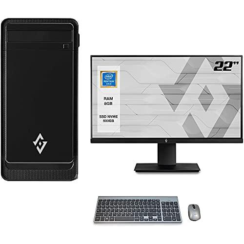 Pc desktop INTEL 4.10ghz,Ram 8gb ddr4,Ssd 500Gb,Scheda Video ULTRA HD,Windows 10 Pro,Monitor 22  con accessori assemblato Computer fisso Pc completo INTEL