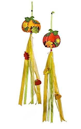 dpr. Dekohänger 2er Set Kürbis Blätter Blumen Filz Herbst Deko Anhänger Herbstdeko Fensterdeko