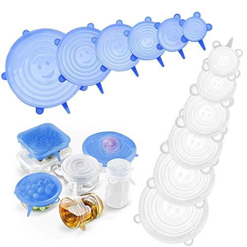 Yimidon Coperchi in Silicone Alimentare Estensibile, 12 Pack Coperchio Silicone Stretch Universale Riutilizzabili per Ciotole, Pentole, Tazze, Piatti per Mantenere Alimenti Fresco - BPA Free