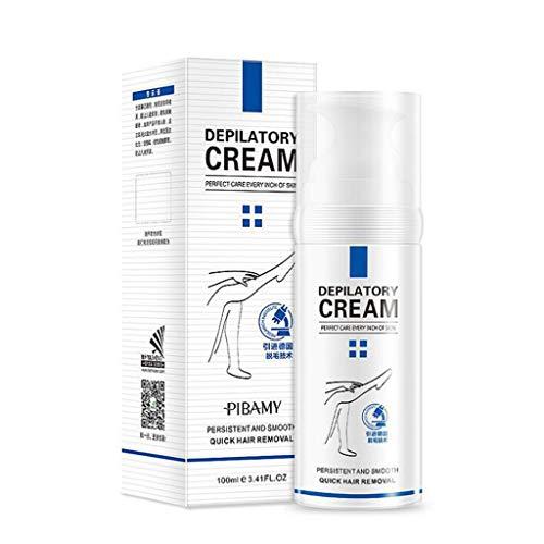 Detrade 100ml Haarentfernungscreme Natural Painless Facial Hair Off Cream Professional zum Entfernen von Haaren an Knien, Armen, Knöcheln, Beinen und Unterarmen (White)