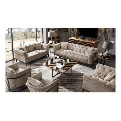 Luxus Home And Garden Oslo - Sofá de 3 plazas con base de metal (tejido de terciopelo neutro)