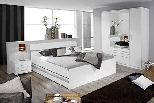 Rauch Möbel Apulien Bett Doppelbett mit Stauraum in Weiß, inklusive Schubladen, Liegefläche 180x200 cm, Gesamtmaße Bett BxHxT 185x90x209 cm