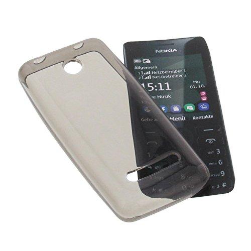 foto-kontor Custodia per cellulari Nokia Asha 206 in Gomma TPU di Colore Grigio