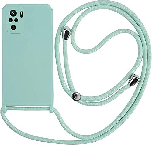 Funda con Cuerda Compatible con Xiaomi Redmi Note 10 / 10S (Verde Turquesa) Carcasa Premium Candy Suave con Colgante Cordón para Colgar…