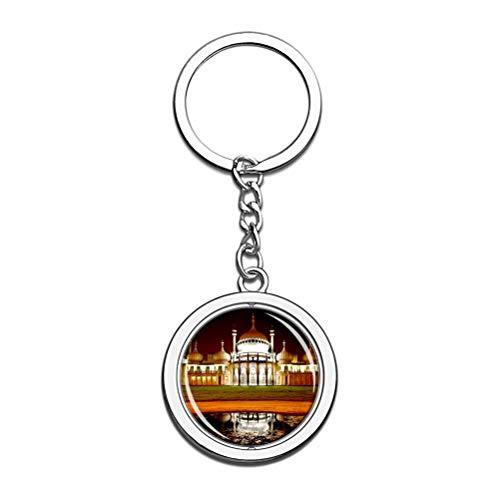 Schlüsselanhänger, Motiv: Großbritannien, England, königlicher Pavillon, Brighton, Souvenir, Drehkristall, Metall, Edelstahl, Kette, Stadt-Reise, Geschenk