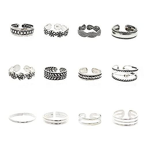 XPT 12 anillos de dedo del pie, diseño abierto, unisex, ajustable, accesorio de moda para regalo de fiesta, 12 piezas