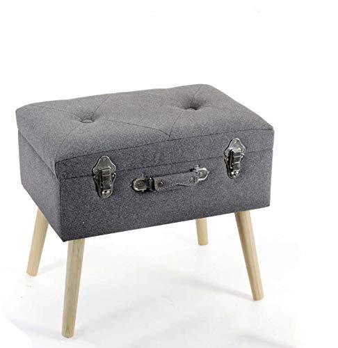 pouf 50x50 Kasahome Pouf Contenitore tessuto Sgabello Arredo Casa Ingresso Negozio Piedi in Legno Valigia 50x35x46cm (Grigio)