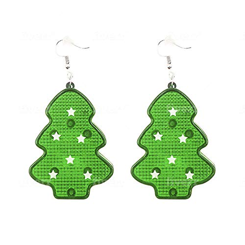 Christmas Light Up LED Earrings (Green Christmas Tree)