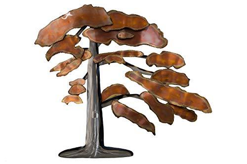 KunstLoft Extravagante Metall Wandskulptur \'Rusty Bonsai\' 88x97x7cm | Design Wanddeko XXL handgefertigt Metallbild Wandrelief | Bonsai Baum in Silber & Kupfer | Wandobjekt Wandbild modern