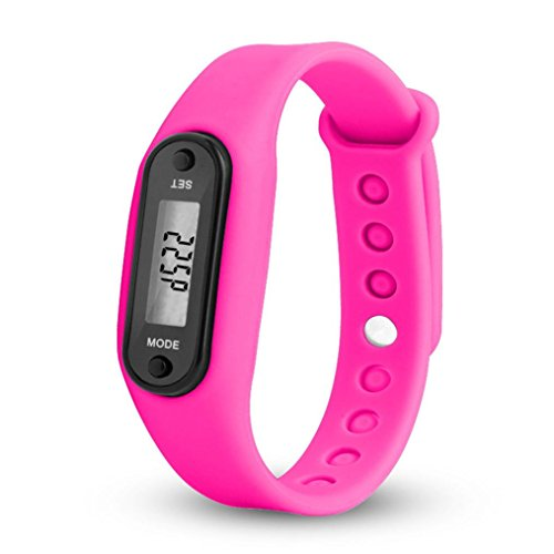 Kanpola Damen Herren Gummi LED Uhren Datum Sports Armband Digital Armbanduhr/Run Step Walking Distance Watch Schrittzähler Kalorienzähler Digital LCD Armband (Pink)