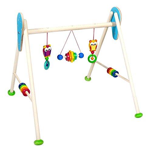 Hess Holzspielzeug- Jouet en Bois-Série Chouette-pour bébé-Arche de Jeu Faite à la Main avec Personnages et hochets colorés-Environ 62 x 57 x 55 cm, 13376.0, Multicolore, env