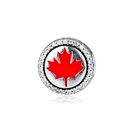 LILANG Pandora 925 Jewelry Bracelet Natural Fit Canada Red Maple Leaf Charms Cuentas Originales de Plata esterlina para Hacer Charm Joyas Kralen Women DIY Gift