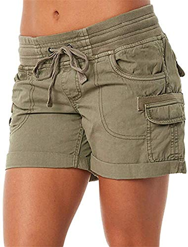 womens cargo shorts elastic waist 5 inch inseam