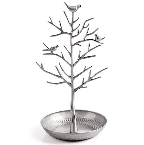 Plushfarm Jewelry Display Stand Rack Tree Bird Stand Iron Necklace Earring Holder Bracelet Fashion Organizer 5 Colors (Color : Silver)