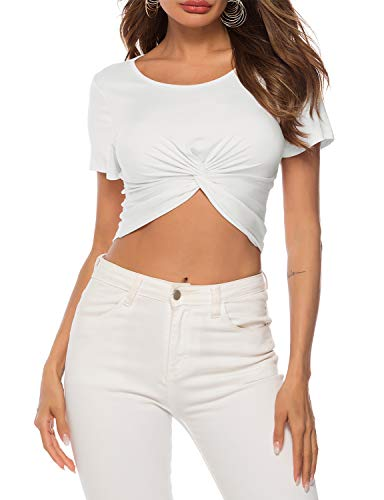 THANTH Womens Basic Short Sleeve Scoop Neck Tie Knot Sexy Workout Crop Tops White XL