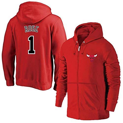 ZSPSHOP NBA - Chaqueta de baloncesto con capucha para hombre, diseño de Chicago Bulls No.1 No.23 con cremallera rosa para entrenamiento de baloncesto, chaqueta de fitness (color rojo 1, tamaño: XL)