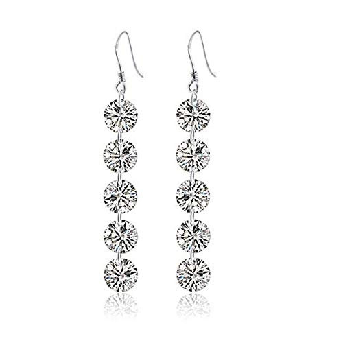 XINTIAN Stud Earrings 925 Sterling Silver Crystal Round Bead Long Drop Earring for Women Fashion Jewelry